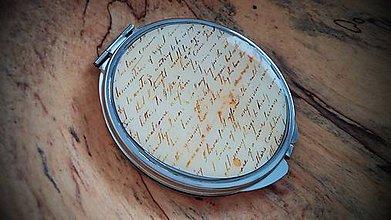 Zrkadielka - Zrkadielko kabelkové s motívom vintage písma - 5005186_