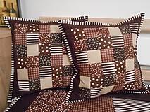 - patchwork obliečka 40x40 cm čokoládovo-béžová  - 5013263_