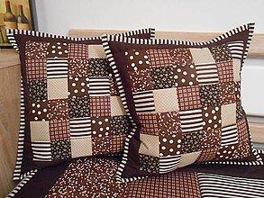 Úžitkový textil - patchwork obliečka 40x40 cm čokoládovo-béžová - 5013263_