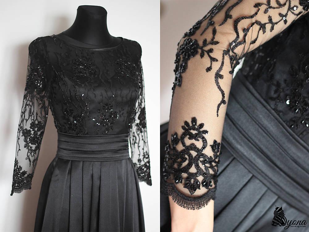 Spoločenské šaty z tylovej korálkovej krajky   Dyona - SAShE.sk b6aa663353e