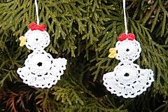 Veľká Noc - Véľkonočné biele malé háčkované kuriatka - 5013480_