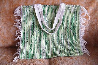 Kabelky - Tkaná taška zeleno-biela - 5013345_