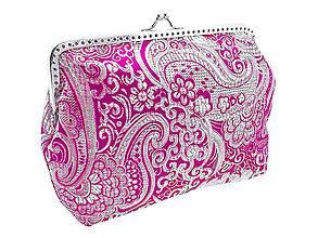 Kabelky - Brokátová strieborno - ružová kabelka 0475 A - 5015470_