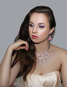 Náušnice - metal & pink washi - 5016383_
