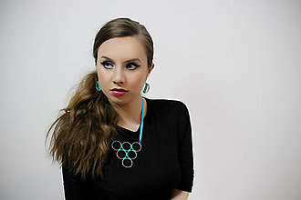 Náhrdelníky - metal & green washi náhrdelník - 5016420_