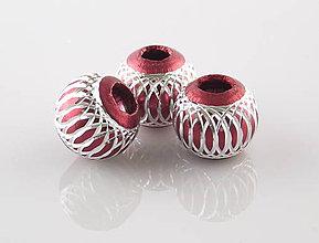 Korálky - Aluminio burgundy maxsfera - 5017166_