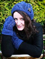 Modrý set čiapky a palčiakov