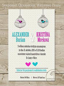 Papiernictvo - Svadobné oznámenie Wedding Birds - 5022847_