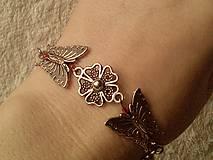 Náramky - Náramok motýľovo-kvietkový. - 5033854_