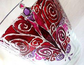 Svietidlá a sviečky - Roztancované špirálky červené - maľovaný sklenený svietniček - 5032548_