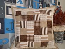 patchwork obliečka 40x40 cm čokoládovo-béžová