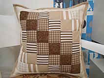 Úžitkový textil - patchwork obliečka 40x40 cm čokoládovo-béžová - 5034175_