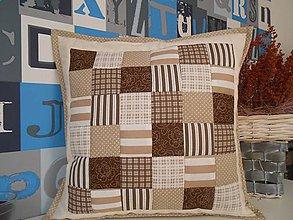 Úžitkový textil - patchwork obliečka 40x40 cm čokoládovo-béžová - 5034095_