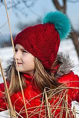 Detské čiapky - Červená alpaka s bombuľou - 5031776_