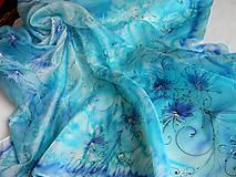 Šatky - Tyrkysové květy /hedvábný šátek 90 x 90 cm/ - 5034569_