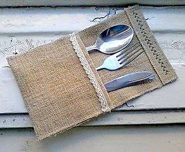 Úžitkový textil - babičkine vrecko na príbor - 5030892_