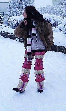 Čiapky - lel ,maxi štucne, štucňohrejkové návleky hrubé ružové - 5038612_