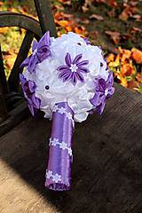 Kytice pre nevestu - svadobná látková (saténová) kytica- 30% zľava - 5038513_