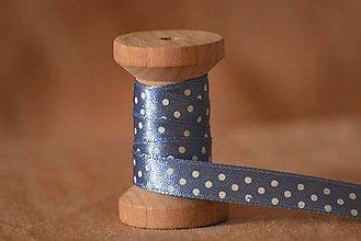 990847831 Galantéria - Saténová stuha bodkovaná, modrá/biela 1 cm - 5042819_