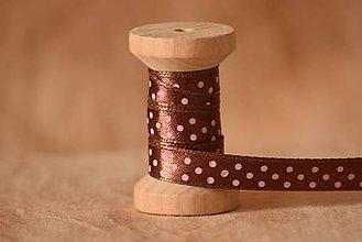 66d6780d0 Galantéria - Saténová stuha bodkovaná, hnedá/pink 1 cm - 5042840_