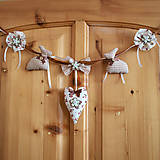 Dekorácie - Textilná dekoračná girlanda- zamilovaní zajkovia - 5046426_