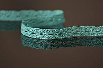 Galantéria - Bavlnená čipka, 1 cm, tyrkysová - 5046909_