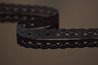 Galantéria - Bavlnená ćipka, 1 cm, čierna - 5046955_