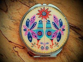 Zrkadielka - Zrkadielko kabelkové s pastelovým folk motívom - 5045772_