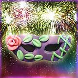 Magnetky - Škraboška - fialová s ružičkou NA ZÁKAZKU - 5047741_