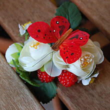 Ozdoby do vlasov - Letní jahůdkový motýlek ... spona - 5053385_