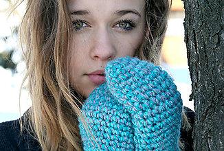 Rukavice - Tyrkysovo-sivé háčkované rukavice - 5057215_