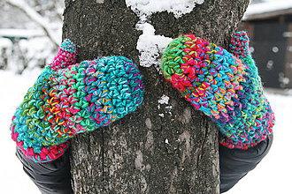 Rukavice - Hrubé háčkované farebné rukavice - 5057244_