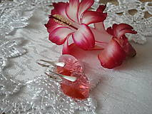 Náušnice - Swarovski Hearts Padparadscha v striebre - 5059641_