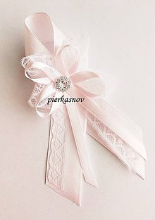 Pierka - Svadobné pieko veľké - bielo - ružové s čipkou a so štrasom - 5062828_