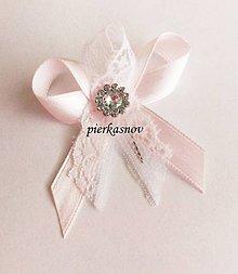 Pierka - Svadobné pierko malé pre hostí ružové s čipkou a so štrasom - 5062871_