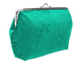 Kabelky - Dámská zamatová kabelka zelená 0470D (Modrá) - 5069307_