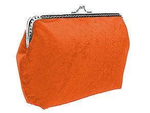 Kabelky - Dámská zamatová kabelka oranžová 0470E - 5069405_