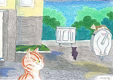 Obrazy - Mačiatko pri paneláku -- pastel - 5069552_