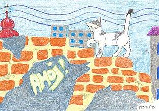 Obrázky - Mačiatko na múre -- pastel - 5069591_