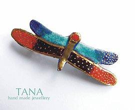 Ozdoby do vlasov - Tana šperky - keramika/zlato, Vážka do vlasov.... - 5067992_