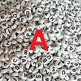 - Korálky písmeno A krúžky biele 6 mm - 5069668_