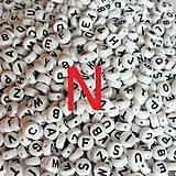 - Korálky písmeno N krúžky biele 6 mm - 5069740_