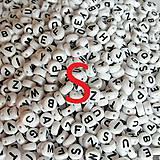 - Korálky písmeno S krúžky biele 6 mm - 5069751_