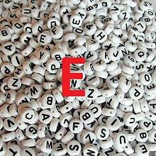 Korálky - Korálky písmeno krúžky biele 6 mm (E) - 5069684_