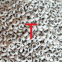 Korálky - Korálky písmeno krúžky biele 6 mm (T) - 5069767_