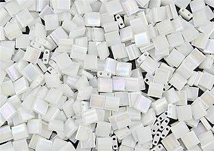 Korálky - Miyuki Tila Beads TL471 - White Pearl AB (10g) - 5070978_