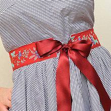 Opasky - Folklorný opasok - červeno/biely - 5,5cm - 5069175_