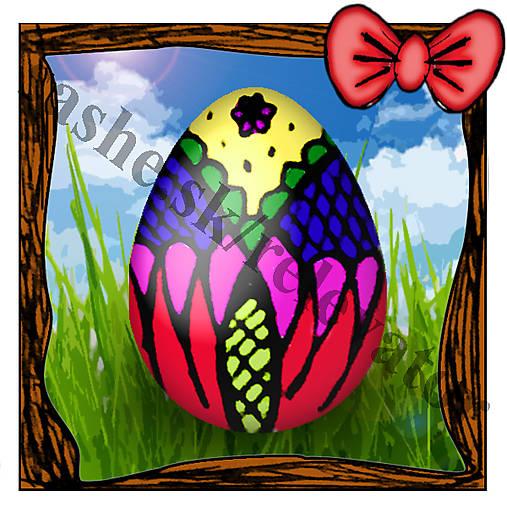 Veľkonočná pohľadnica - veľkonočné vajíčko v tráve 1