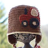 Detské čiapky - Prechodná ušianka... traktor - 5072284_
