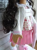 Bábiky - Ružová v skladanej sukničke - 5071778_